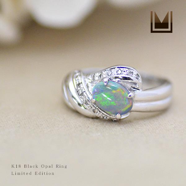 【1点限り】K18WG ブラックオパール 0.64ct ダイヤモンド リング