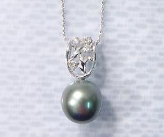 【GWクーポン配布中】【1点限り】K18WG 黒蝶真珠 ダイヤモンド ペンダントトップ《1点限り・即日発送可能》