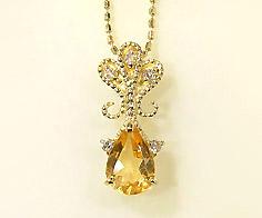 【GWクーポン配布中】ペンダントトップ シトリン ダイヤモンド 「lacrima」 ゴールド K18 送料無料