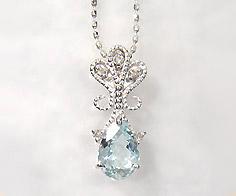 【GWクーポン配布中】ペンダントトップ アクアマリン ダイヤモンド 「lacrima」 ゴールド K18 送料無料