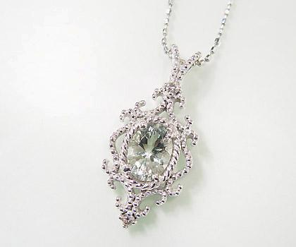 【GWクーポン配布中】ペンダントトップ グリーンアメシスト ダイヤモンド 「riflettere」 ゴールド K18 送料無料