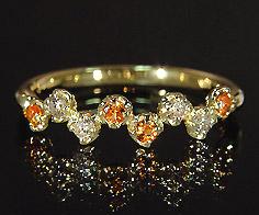 【GWクーポン配布中】K18 ダイヤモンド マンダリンガーネット リング 「stellato」送料無料 指輪 ゴールド 18K 18金 ダイアモンド 誕生日 1月誕生石 刻印 文字入れ メッセージ ギフト 贈り物 ピンキーリング対応可能