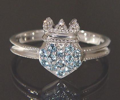 K18 サンタマリアアクアマリン ダイヤモンド ハート リング 「tenero」送料無料 指輪 アクワマリン 18K 18金 ゴールド 王冠 ティアラ ダイアモンド 3月誕生石 誕生日 文字入れ 刻印 ピンキーリング対応可能 メッセージ ギフト 贈り物