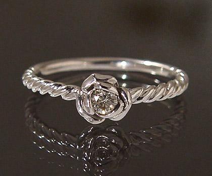 【GWクーポン配布中】K18 ダイヤモンド ローズ リング 「romantica」送料無料 指輪 ゴールド 18K 18金 ダイアモンド 薔薇 バラ 誕生日 4月誕生石 刻印 文字入れ メッセージ ギフト 贈り物 ピンキーリング対応可能