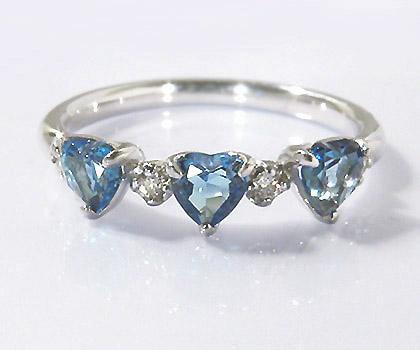 【GWクーポン配布中】K18 ロンドンブルートパーズ ダイヤモンド ハート リング 「carino」送料無料 指輪 18K 18金 ゴールド ダイアモンド 11月誕生石 誕生日 文字入れ 刻印 ピンキーリング対応可能 メッセージ ギフト 贈り物
