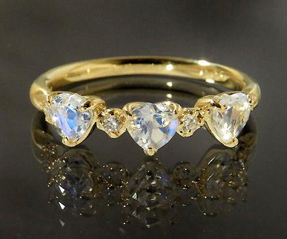 【GWクーポン配布中】K18 ブルームーンストーン ダイヤモンド ハート リング 「carino」送料無料 指輪 18K 18金 ゴールド ダイアモンド 6月誕生石 誕生日 文字入れ 刻印 ピンキーリング対応可能 メッセージ ギフト 贈り物