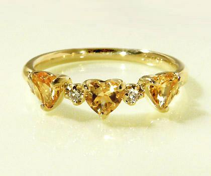 K18 シトリン ダイヤモンド ハート リング 「carino」 指輪 18K 18金 ゴールド ダイアモンド 11月誕生石 誕生日 文字入れ 刻印 ピンキーリング対応可能 メッセージ ギフト 贈り物