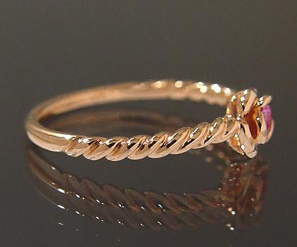 K18 ピンクサファイア ローズ リング 「romantica」 指輪 ゴールド 18K 18金 サファイヤ 薔薇 バラ 誕生日 9月誕生石 刻印 文字入れ メッセージ ギフト 贈り物 ピンキーリング対応可能