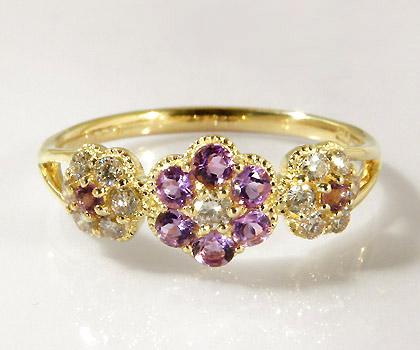 K18 アメシスト ダイヤモンド フラワー リング 「parterre」送料無料 指輪 18K 18金 ゴールド アメジスト ダイアモンド 花 2月誕生石 誕生日 文字入れ 刻印 ピンキーリング対応可能 メッセージ ギフト 贈り物