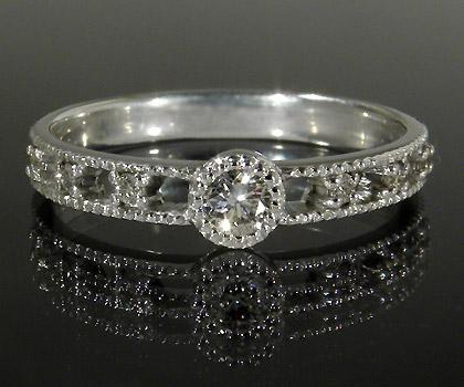 【GWクーポン配布中】K18 ダイヤモンド リング 「delicatura」送料無料 指輪 18K 18金 ゴールド ダイアモンド ミル打ち 4月誕生石 誕生日 文字入れ 刻印 ピンキーリング対応可能 メッセージ ギフト 贈り物