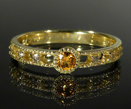 K18 マンダリンガーネット ダイヤモンド リング 「delicatura」送料無料 指輪 18K 18金 ゴールド ダイアモンド ミル打ち 1月誕生石 誕生日 文字入れ 刻印 ピンキーリング対応可能 メッセージ ギフト 贈り物
