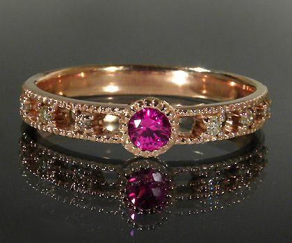 K18 ピンクサファイア ダイヤモンド リング 「delicatura」送料無料 指輪 18K 18金 ゴールド サファイヤ ダイアモンド ミル打ち 9月誕生石 誕生日 文字入れ 刻印 ピンキーリング対応可能 メッセージ ギフト 贈り物