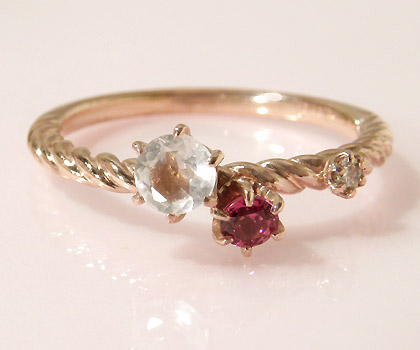 K18 フェミニンカラー ダイヤモンド リング 「galassia」送料無料 指輪 18K 18金 ゴールド ローズクォーツ ロードライトガーネット ダイアモンド 1月誕生石 誕生日 文字入れ 刻印 ピンキーリング対応可能 贈り物