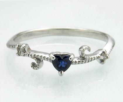 K18 ブルーサファイア ダイヤモンド リング 「mirto」 指輪 18K 18金 ゴールド サファイヤ ダイアモンド ハート ミル打ち 誕生日 9月誕生石 文字入れ 刻印 ピンキーリング対応可能 メッセージ ギフト 贈り物