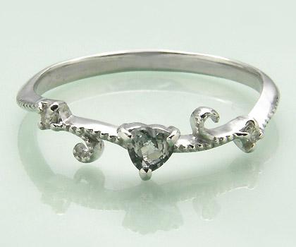 K18 グリーンサファイア ダイヤモンド リング 「mirto」送料無料 指輪 18K 18金 ゴールド サファイヤ ダイアモンド ハート ミル打ち 誕生日 9月誕生石 文字入れ 刻印 ピンキーリング対応可能 メッセージ ギフト 贈り物