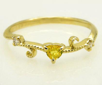 18 イエローサファイア ダイヤモンド リング 「mirto」 指輪 18K 18金 ゴールド サファイヤ ダイアモンド ハート ミル打ち 誕生日 9月誕生石 文字入れ 刻印 ピンキーリング対応可能 メッセージ ギフト 贈り物