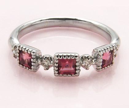 K18 ピンクトルマリン ダイヤモンド リング 「altero」送料無料 指輪 18K 18金 ゴールド ダイアモンド ミル打ち 誕生日 10月誕生石 文字入れ 刻印 ピンキーリング対応可能 メッセージ ギフト 贈り物