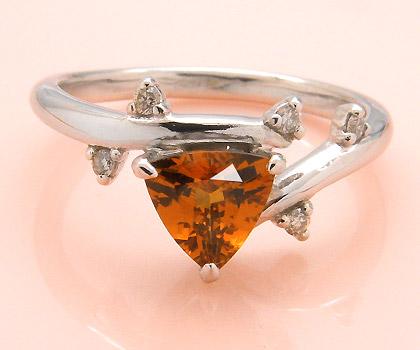 K18 スペサタイトガーネット ダイヤモンド リング 「garibaldi」送料無料 指輪 18K 18金 ゴールド スペサルティン スペッサタイト ダイアモンド トリリアント 誕生日 1月誕生石 文字入れ 刻印 ピンキーリング対応可能 メッセージ ギフト 贈り物