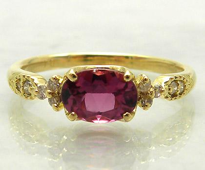 【GWクーポン配布中】K18 ピンクトルマリン ダイヤモンド リング 「amanza」送料無料 指輪 18K 18金 ダイアモンド 誕生日 10月誕生石 文字入れ 刻印 ピンキーリング対応可能 メッセージ ギフト 贈り物