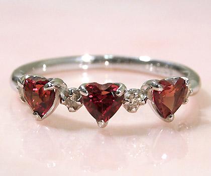 K18 ガーネット ダイヤモンド ハート リング 「carino」 指輪 18K 18金 ダイアモンド 誕生日 1月誕生石 文字入れ 刻印 ピンキーリング対応可能 メッセージ ギフト 贈り物