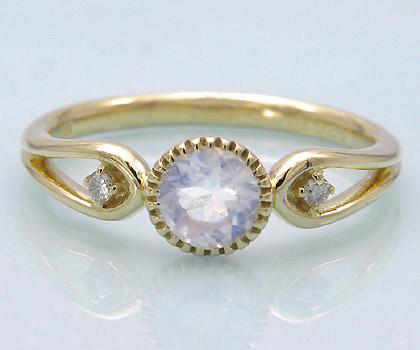 【GWクーポン配布中】K18 ブルームーンストーン ダイヤモンド リング 「amica」送料無料 指輪 18K 18金 ダイアモンド 誕生日 6月誕生石 文字入れ 刻印 ピンキーリング対応可能 メッセージ ギフト 贈り物