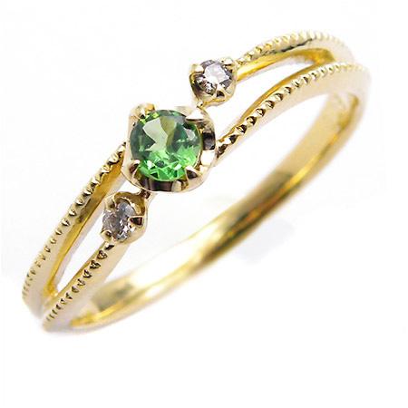 K18 グリーンガーネット ダイヤモンド リング 「cresta」送料無料 指輪 ゴールド 18K 18金 ダイアモンド ツァボライト 誕生日 1月誕生石 刻印 文字入れ メッセージ ギフト 贈り物 ピンキーリング対応可能