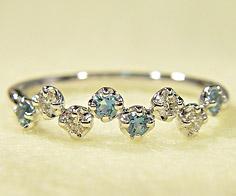 K18 ダイヤモンド サンタマリアアクアマリン リング 「stellato」 指輪 アクワマリン ダイアモンド ゴールド 18K 18金 誕生日 3月誕生石 刻印 文字入れ メッセージ ギフト 贈り物 ピンキーリング対応可能
