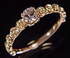 K18 モルガナイト バラモチーフ リング 「rosa」 指輪 ゴールド 18K 18金 薔薇 ローズ 花 刻印 文字入れ メッセージ ギフト 贈り物 ピンキーリング対応可能