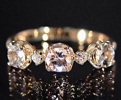 K18 モルガナイト ダイヤモンド リング 「attore」 指輪 ダイアモンド ゴールド 18K 18金 刻印 文字入れ メッセージ ギフト 贈り物 ピンキーリング対応可能