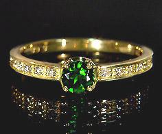【GWクーポン配布中】K18 クロムダイオプサイト ダイヤモンド リング 「polarita」送料無料 指輪 ダイオプサイド ダイアモンド ゴールド 18K 18金 刻印 文字入れ メッセージ ギフト 贈り物 ピンキーリング対応可能