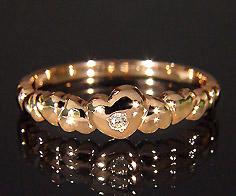 K18 バブルハート ダイヤモンド リング送料無料 指輪 ゴールド 18K 18金 ダイアモンド 誕生日 4月誕生石 刻印 文字入れ メッセージ ギフト 贈り物 ピンキーリング対応可能