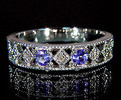 K18 タンザナイト ダイヤモンド リング 「blonda」送料無料 指輪 ブルーゾイサイト ダイアモンド ゴールド 18K 18金 ミル打ち 誕生日 12月誕生石 刻印 文字入れ メッセージ ギフト 贈り物 ピンキーリング対応可能