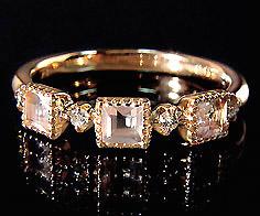 K18 ローズクォーツ×ダイヤモンド リング 「altero」 指輪 ダイアモンド ゴールド 18K 18金 ミル打ち 刻印 文字入れ メッセージ ギフト 贈り物 ピンキーリング対応可能