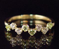 K18 ダイヤモンド ペリドットリング 「stellato」送料無料 指輪 ダイアモンド ゴールド 18K 18金 誕生日 8月誕生石 刻印 文字入れ メッセージ ギフト 贈り物 ピンキーリング対応可能