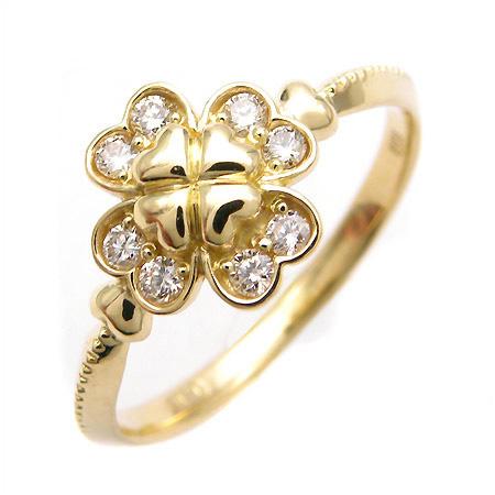 【GWクーポン配布中】K18 ダイヤモンド クローバー リング 「lieto」送料無料 指輪 ゴールド 18K 18金 ダイアモンド 四つ葉 ハート 誕生日 4月誕生石 刻印 文字入れ メッセージ ギフト 贈り物 ピンキーリング対応可能