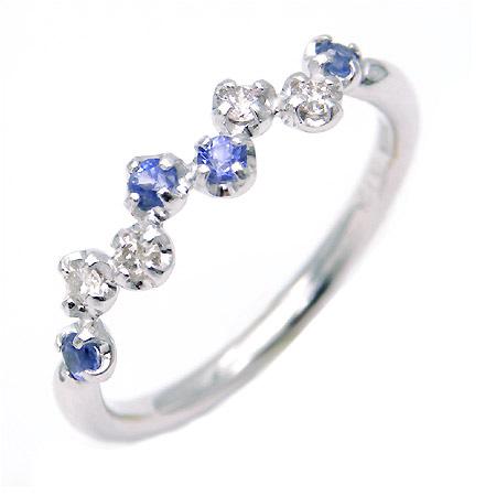 【GWクーポン配布中】K18 ダイヤモンド×ブルーサファイアリング 「stellato」送料無料 指輪 ゴールド 18K 18金 サファイヤ ダイアモンド 誕生日 9月誕生石 刻印 文字入れ メッセージ ギフト 贈り物 ピンキーリング対応可能