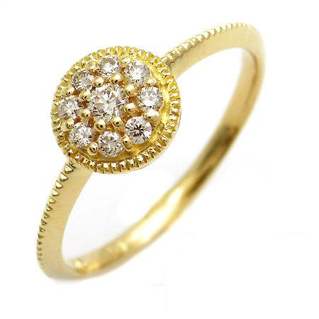 【GWクーポン配布中】K18 ダイヤモンド 0.2ct フラワーモチーフ リング 「fiorale」送料無料 指輪 ゴールド 18K 18金 ダイアモンド 誕生日 4月誕生石 刻印 文字入れ メッセージ ギフト 贈り物 ピンキーリング対応可能