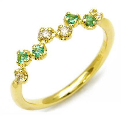 K18 ダイヤモンド エメラルド リング 「stellato」送料無料 指輪 ゴールド 18K 18金 ダイアモンド 誕生日 5月誕生石 刻印 文字入れ メッセージ ギフト 贈り物 ピンキーリング対応可能