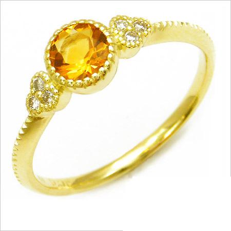 K18 シトリン ダイヤモンド リング 「tazzina」送料無料 指輪 ゴールド 18K 18金 ダイアモンド ミル打ち 誕生日 11月誕生石 刻印 文字入れ メッセージ ギフト 贈り物 ピンキーリング対応可能