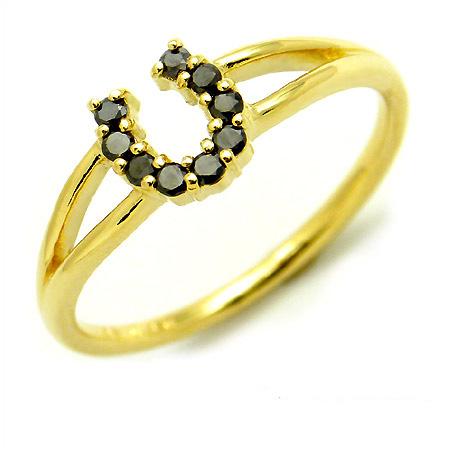 【GWクーポン配布中】K18 ブラックダイヤモンド リング 「fortuna」送料無料 指輪 ゴールド 18K 18金 ダイアモンド 馬蹄 ホースシュー 誕生日 4月誕生石 刻印 文字入れ メッセージ ギフト 贈り物 ピンキーリング対応可能