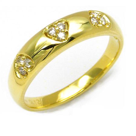 【GWクーポン配布中】K18 ハートモチーフ ダイヤモンド リング 「giurare」送料無料 指輪 ダイアモンド ゴールド 18K 18金 誕生日 4月誕生石 刻印 文字入れ メッセージ ギフト 贈り物 ピンキーリング対応可能