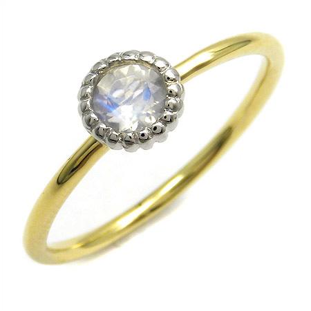 K18/PT900 ブルームーンストーン リング 「figaro」 指輪 プラチナ900 ゴールド 18K 18金 ミックス コンビリング 誕生日 6月誕生石 刻印 文字入れ メッセージ ギフト 贈り物 ピンキーリング対応可能