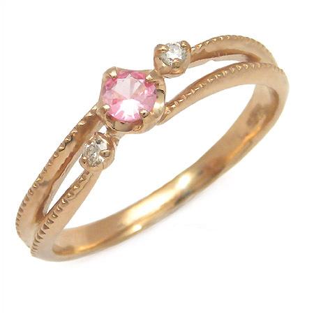K18 ピンクスピネル ダイヤモンド リング 「cresta」送料無料 指輪 ゴールド 18K 18金 ダイアモンド 刻印 文字入れ メッセージ ギフト 贈り物 ピンキーリング対応可能