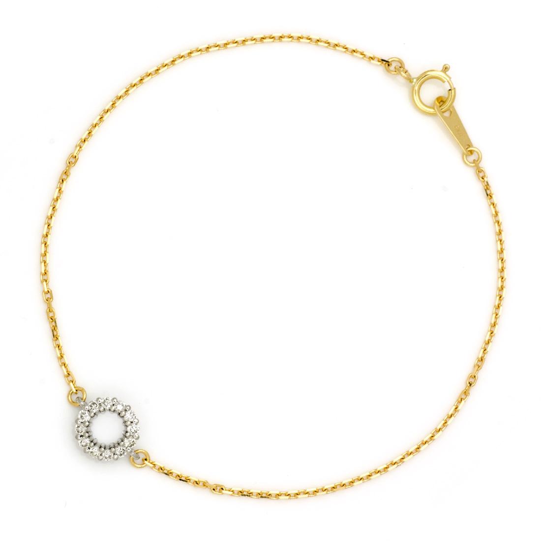 ブレスレット ダイヤモンド 「halo」 プラチナ900 ゴールド K18 コンビネーション アズキチェーン
