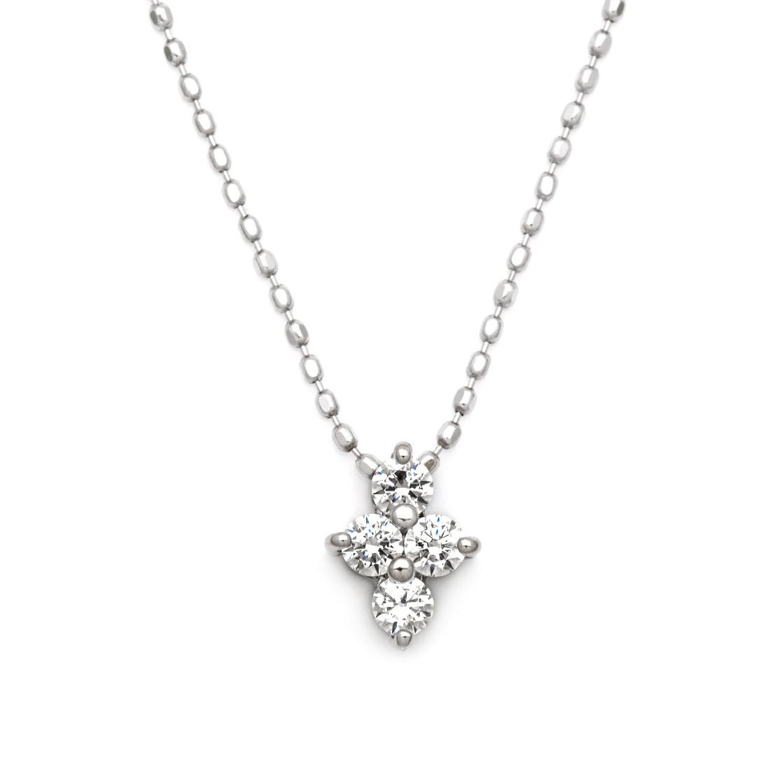 【GWクーポン配布中】ペンダント ダイヤモンド 0.16カラット プラチナ900 カットボールチェーン 送料無料