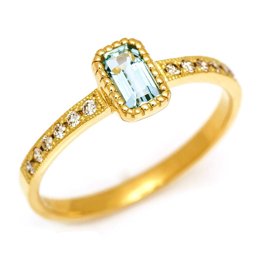 【GWクーポン配布中】リング アクアマリン ダイヤモンド 「grazia」 ゴールド K18 送料無料
