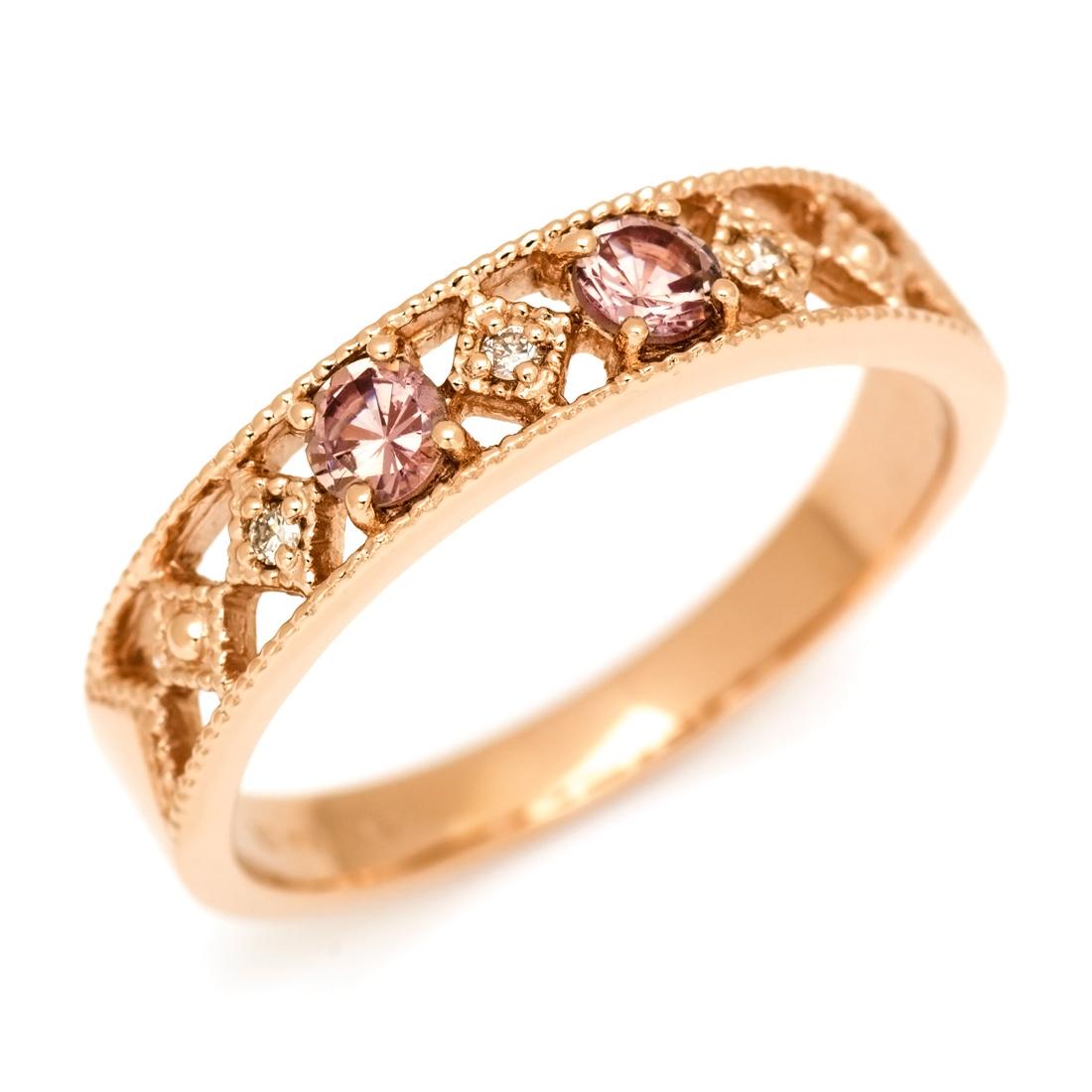 シャンパンガーネット 「blonda」 贈り物 リング 1月誕生石 ダイヤモンド 【ポイント2倍中】K18 メッセージ 誕生日 ピンキーリング対応可能 指輪 18金 母の日 ゴールド 文字入れ 18K ミル打ち ダイアモンド 刻印 ギフト