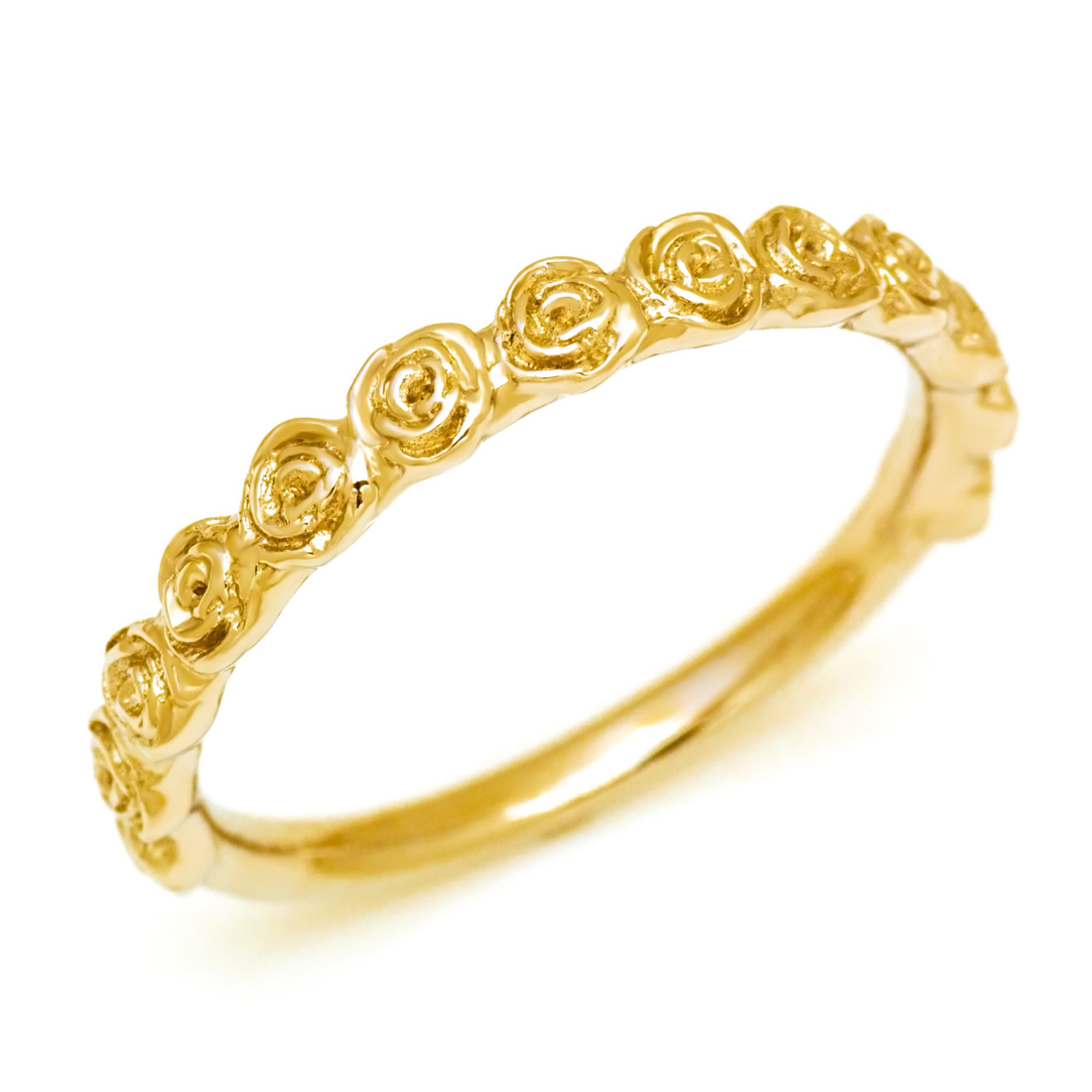 【GWクーポン配布中】K18 バラモチーフ リング 「rosa」送料無料 指輪 ゴールド 18K 18金 地金リング メタルリング 薔薇 刻印 文字入れ メッセージ ギフト 贈り物 ピンキーリング対応可能