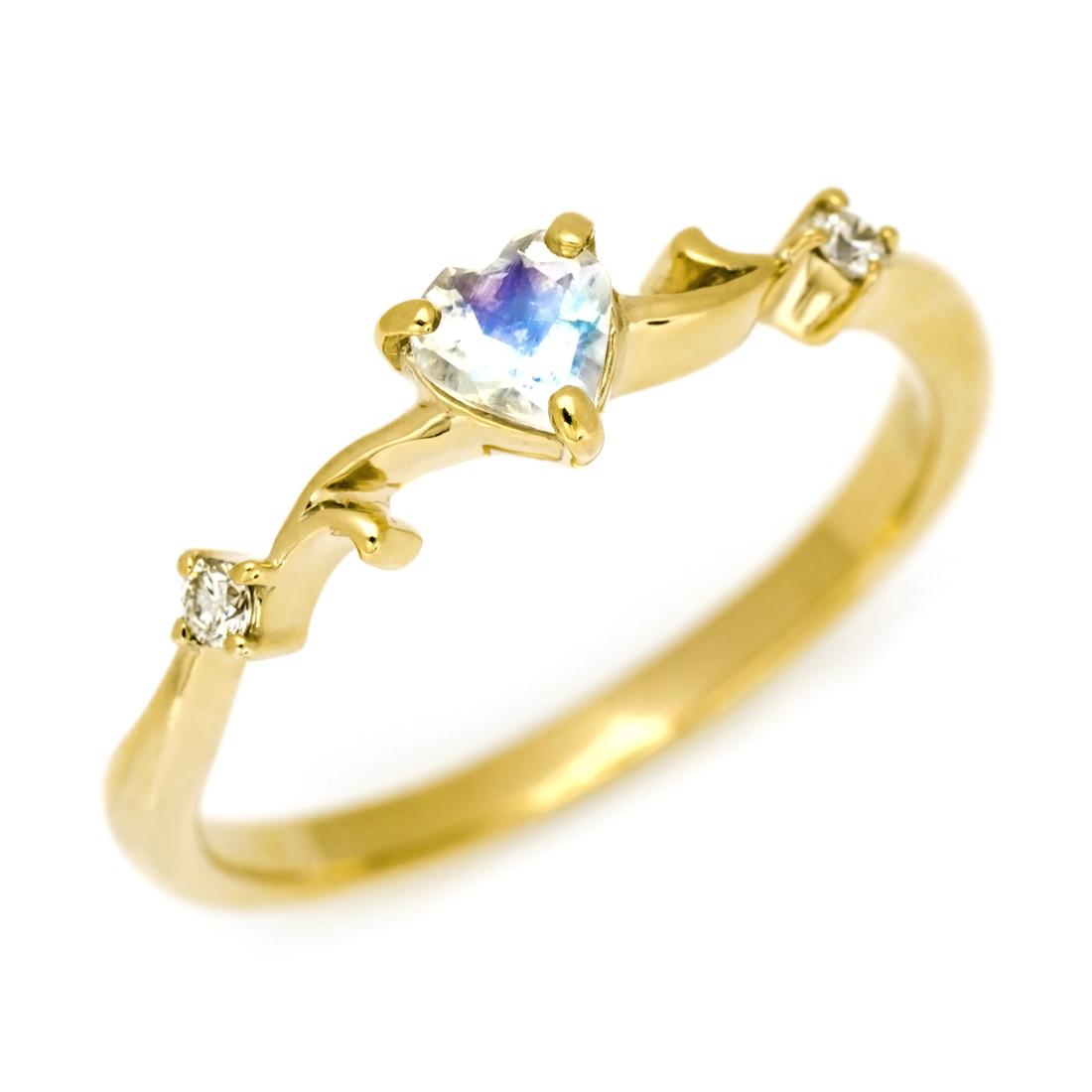 【GWクーポン配布中】リング ブルームーンストーン ダイヤモンド 「arzente」 ゴールド K10 送料無料