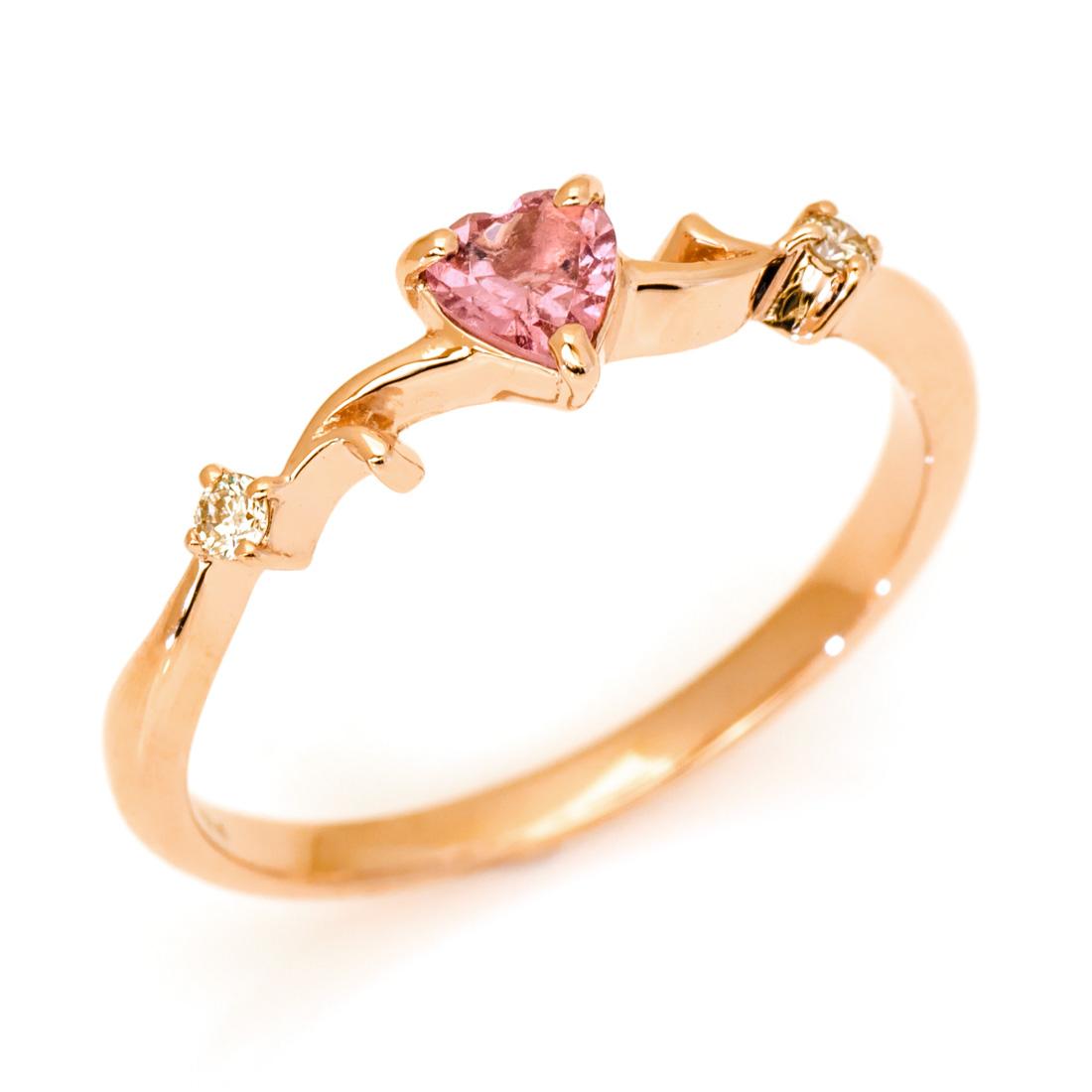 【GWクーポン配布中】リング ピンクトルマリン ダイヤモンド 「arzente」 ゴールド K10 ハートモチーフ 送料無料